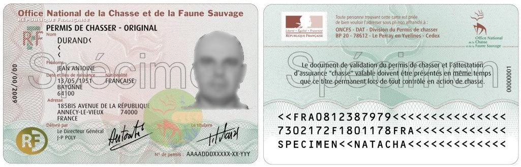 Spécimen d'un permis de chasse gratuit délivré par l'ONCFS