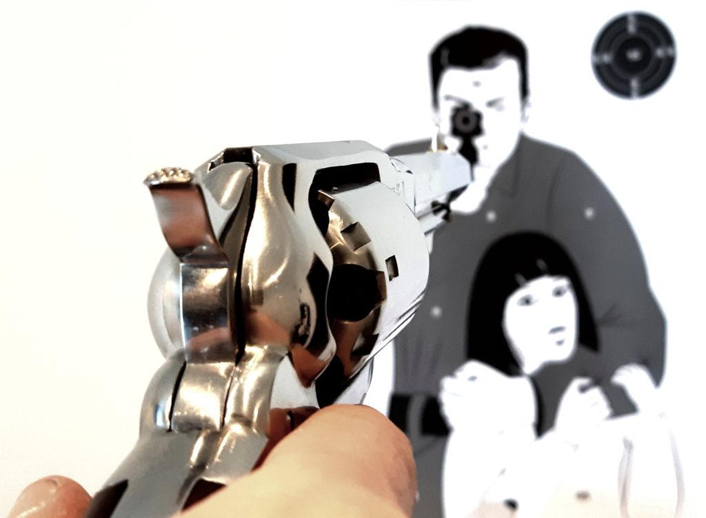 Les 5 principes fondamentaux du tir, la visée, remington 1858 sherif, cible otage.